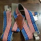 McGuire Nicholas Patriotic Red White & Blue American Flag Design Suspenders