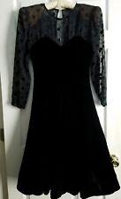 Vintage Black Sheer Polka Dot Velvet Tulle Dress ~ Petites Size 8 ~ ILGWU Made