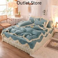Korean Princess Style Sanding Bedding Set Cover Set Bed Sheet Bed Skirt