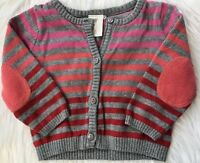 H&M Baby Girls 2 3 4 Months Gray Cardigan Sweater with Pink Red Coral Stripes