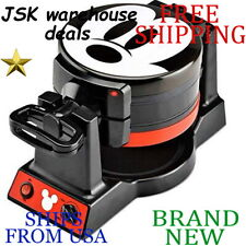 *New* DISNEY Mickey Mouse Double Flip WAFFLE MAKER Nonstick Nonslip Wipe Clean
