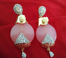 Indian Handmade Elegant Cubic Zirconia AD Stone New Pink Flora Ethnic Earrings