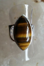 582 Tigers Eye Solid 925 Sterling Silver Marquis Gemstone Ring sz P/S rrp$120