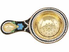 Vintage Russian Silver Gilt and Polychrome Cloisonne Enamel Tea Strainer 1970s