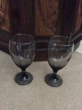 Two 16 oz Smoky Gray Pedestal Glasses. NEW with tags