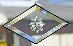 Bleiverglasung Fensterbild Suncatcher Facettenrhombus mit Gravur in Tiffany
