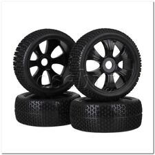 4x RC1:8 Off Road T-word Pattern Rubber Tire + Black 6 spoke Plastic Wheel Rims