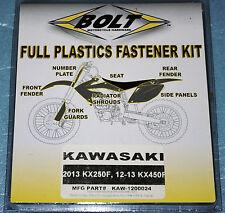 kit visserie de plastiques complet BOLT Kawasaki KX 250 F 13/14 KXF 450 12/14