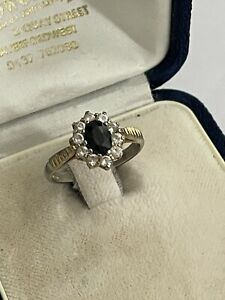 Vintage Sterling Silver Gilt Sapphire & Cubic Zirconia Cluster Ring Size M 2.3g