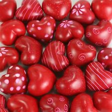 """(pack of six) 1.25"""" red soapstone hearts in assorted designs. Valentine's gift."""
