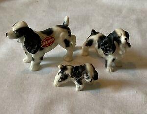 3 Pc Vintage 60s Miniature Bone China B & W Cocker Spaniel Dogs Puppy Family