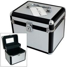 SILVER ALUMINIUM LOCKABLE VANITY CASE COSMETIC MAKE UP & JEWELLERY STORAGE BOX