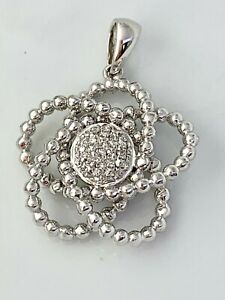 Flower Beaded Pendant with Natural Diamond in Sterling Silver Lot #116