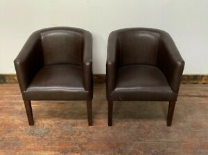 PAIR OF BROWN TUB CHAIRS / FAUX LEATHER / ROUNDED / SEATING / BAR / HOME / CLUB