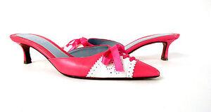 Women's Sandals Mules Women's Heels Designer Lambertson Truex Pink White 8.M