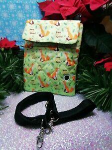 Dog walking  treat and  poo bag holder handmade zero fox given print