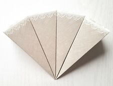 10 x Vintage Hessian-Style Wedding Confetti Cones Grey/White Rose & Lace Design