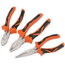 Draper Pliers Set Soft Grip Orange 3pc American Style Long Nose Diagonal Side