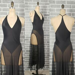 Vtg VICTORIA'S SECRET Black SILK Illusion Mesh Lingerie Long Dress Nightgown S