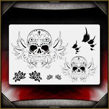 """Sugar Skulls 1"" Airbrush Stencil Template Airsick"