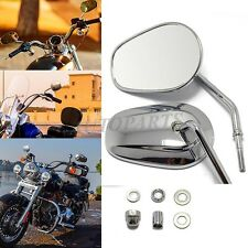 CHROME TEARDROP REAR VIEW MIRRORS FOR HARLEY TOURING SOFTAIL ROAD KING FAT BOYs