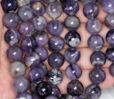 12MM PURPLE STONE GEMSTONE ROUND LOOSE BEADS 15.5""