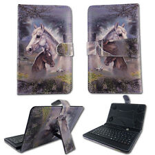 "Horses  For RCA Voyager 7"" Tablet USB Keyboard Case Cover Stand Folio Leather"