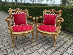 French Louis XVI Chair With Red Tufted Velvet and Gold Frame - Made to order