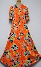 Vintage Lisanne Orange Floral House Patio Dress Robe '60s Full Sweep Medium Lg