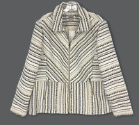 NWT Chicos Sz 3 XL Embroidered Stripe Zip Front Jacket Lined Pockets New