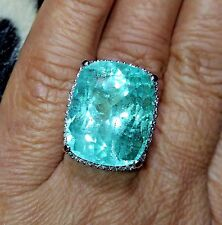 JUMBO*25.08 CT NATURAL COLOMBIAN EMERALD&DIAMOND 14K GOLD COCKTAIL RING
