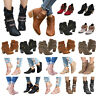 Womens Mid Heels Booties Ankle Boots Zipper Winter Low Shoes Wedge Size Pumps US
