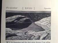 1930s Art Deco Woodcut print by Rockwell Kent: Mountain Lake, Tarn