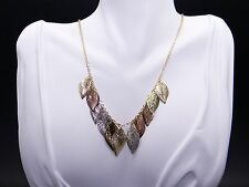 14k Tri Color Gold Yellow White Rose Leaf Tree Pendant Necklace 18 inch
