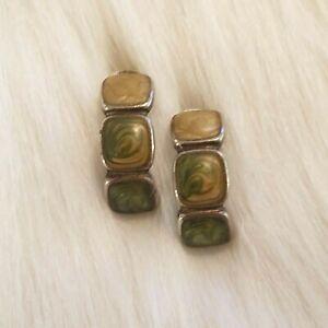 Kenneth Cole Enamel Earrings Pierced Silver Tone Semi Hoop Metal Signed 4645