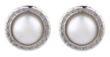 CLIP ON EARRINGS - silver earring with a central round pearl - Wonda