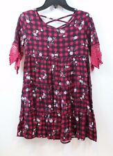 Ten Sixty Sherman Girls Babydoll Tiered Checker Floral Red Dress