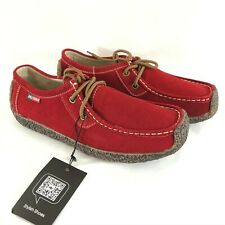 Womens Leather Lace Up Sneakers Boat Shoes Red Size 40.5 US 8.5