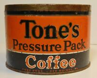 Vintage 1940s TONE BROTHERS COFFEE KEYWIND COFFEE TIN 1 POUND DES MOINES IOWA IA