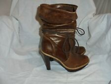 FRENCH CONNECTION WOMEN BROWN LEATHER LACE  MID CALF BOOT SIZE UK 5 EU 38  VGC