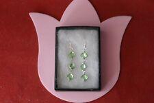 Beautiful Square Green Tsavorite Garnet Silver Earrings 5.5 Gr. 4.5 Cm. Long