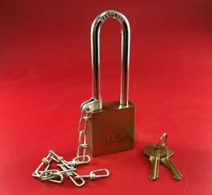 """PACLOCK 100GL-KD, LONG, W/ CHAIN 1-3/4""""W, 6-PIN MILITARY SPEC, 5/16"""" SHACKLE"""