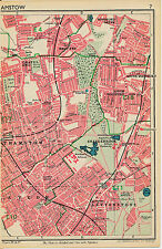 London 1947 orig. city map (part) Walthamstowe E17 E18 E11 Willesden NW10 W3 W12