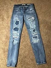 Guess Women's Mid Rise Power Curvy Skinny Jeans Distressed Size 25