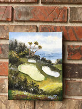 """OIL Painting-Golf Sand  Traps by the Sea-Pebble Beach??? 8""""x 10"""""""