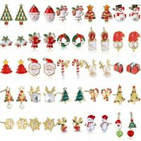 Christmas Tree Santa Claus Deer Dangle Ear Earrings Stud Xmas Party Jewelry Gift