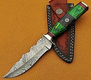"10"" Handmade Forged Damascus Steel Hunting Knife Wood Handle W/ Leather Sheath"