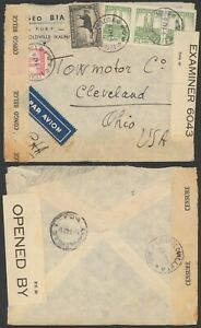 Belgian Congo WWII 1942 - Cover to Cleveland USA - Censor - Railroad TPO