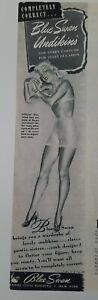 1941 women's Blue Swan underwear undikins bra vintage fashion ad