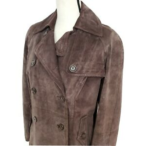 Vintage 90's Double Breasted Suede Jacket w Shoulder Pads, Terry Lewis, Small